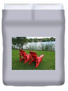 Two Red Chairs Overlooking Lake Formosa Duvet Cover