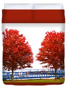 Two Red Trees Duvet Cover