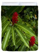 Two Red Tropical Flowers Blooming Duvet Cover
