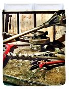 Two Red Wrenches On Plumber's Workbench Duvet Cover