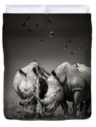 Two Rhinoceros With Birds In Bw Duvet Cover