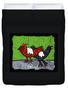 Two Roosters Duvet Cover