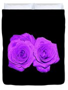 Two Roses Violet Purple And Enameled Effects Duvet Cover