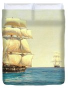 Two Royal Navy Corvettes On Patrol In The Southern Ocean Duvet Cover
