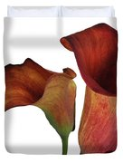 Two Rust Calla Lilies Square Duvet Cover