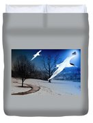 Two Seagulls Fly Together In The Clear Blue Sky Duvet Cover by Fernando Cruz