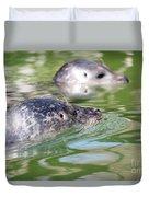 Two Seal Swimming Nature Scene Duvet Cover