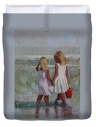 Two Sisters And Red Bucket Duvet Cover