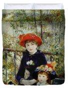 Two Sisters Duvet Cover by Pierre Auguste Renoir
