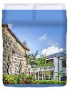 Two Solitudes, Holetown Church And Limegrove Mall, Barbados Duvet Cover