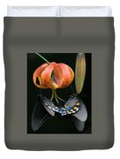 Two Spicebush Swallowtail Butterflies On A Turks Cap Lily Duvet Cover