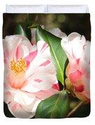 Two Striped Camellias Duvet Cover