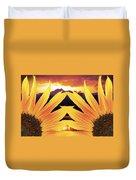 Two Sunflower Sunset Duvet Cover
