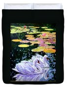Two Swans In The Lilies Duvet Cover