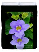 Two Thunbergia With Dew Drops Duvet Cover
