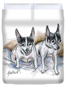 Two Toy Fox Terriers Duvet Cover