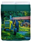 Two Tractors And A Barn 2697t Duvet Cover