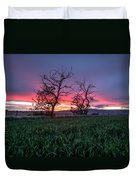 Two Trees In A Purple Sunset Duvet Cover