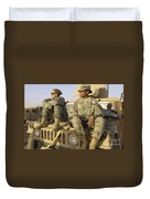 Two U.s. Army Soldiers Relax Prior Duvet Cover