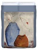Two Vases Still Life Duvet Cover