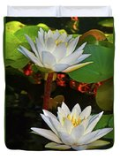 Two Water Lilies 004 Duvet Cover