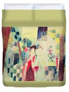Two Women And A Man With Parrots Duvet Cover