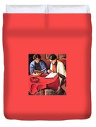 Two Women At The Table By August Macke Duvet Cover
