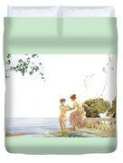 Two Women On The Steps At Noon  Duvet Cover