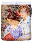 Two Women Reading Duvet Cover