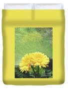 Two Yellow Gerber Daisies Duvet Cover
