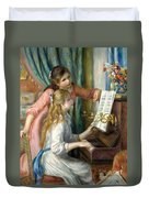 Two Young Girls At The Piano, 1892  Duvet Cover