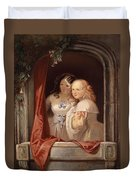 Two Young Ladies At The Window Duvet Cover