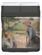 Two Young Peasant Women Duvet Cover