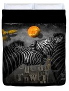Two Zebras And Macaw Duvet Cover