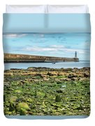 Tynemouth Pier Landscape In Color 2 Duvet Cover