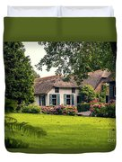 typical dutch county side of houses and gardens, Giethoorn Duvet Cover