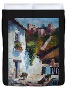 Typical Street Of Granada. Original Acrylic On Paper Duvet Cover