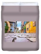 half-timbered houses, Riquewihr, Alsace, France   Duvet Cover