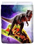 Tyrannosaurus Rex Dinosaur Riding Taco In Space Duvet Cover