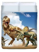 Tyrannosaurus Rex Fighting With Two Duvet Cover by Mohamad Haghani