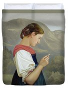 Tyrolean Girl Contemplating A Crucifix Duvet Cover