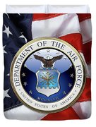 U. S.  Air Force  -  U S A F Emblem Over American Flag Duvet Cover
