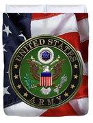 U. S. Army Emblem Over American Flag. Duvet Cover