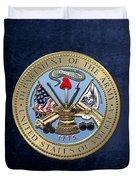 U. S. Army Seal Over Blue Velvet Duvet Cover