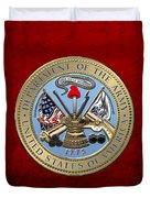 U. S. Army Seal Over Red Velvet Duvet Cover