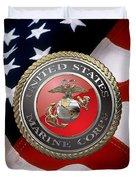 U S M C Emblem Over American Flag Duvet Cover