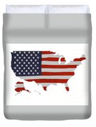 U S Map Stars N Stripes  Duvet Cover