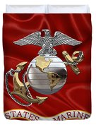 U. S.  Marine Corps - C O And Warrant Officer Eagle Globe And Anchor Over Corps Flag Duvet Cover