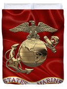 U. S.  Marine Corps - N C O Eagle Globe And Anchor Over Corps Flag Duvet Cover
