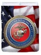 U. S. Marine Corps - U S M C Seal Over American Flag. Duvet Cover